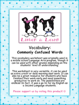 Middle School English - Vocabulary Worksheet - Commonly Confused Words