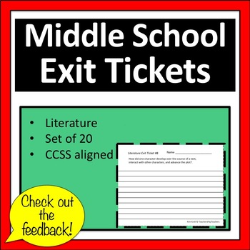 Middle School Exit Tickets / Exit Slips / Task Cards