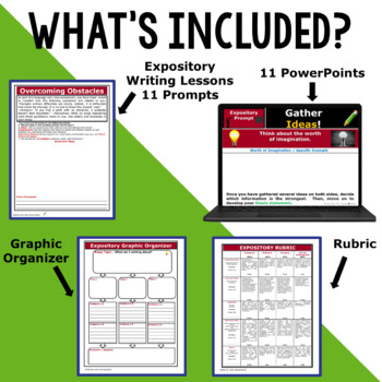 Expository Writing Lessons / Prompts BUNDLE!! w/ Digital Resources – 10 Lessons!