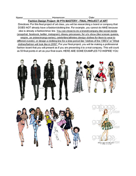 Middle School Fashion Design Illustration Worksheet / Sub Plans