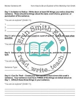 Middle School Favorites Mentor Sentence Grammar Bundle