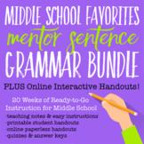 Middle School Favorites Mentor Sentence Grammar Bundle PLU