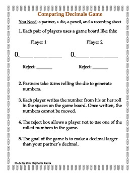 Middle School Fractions Math Center Game