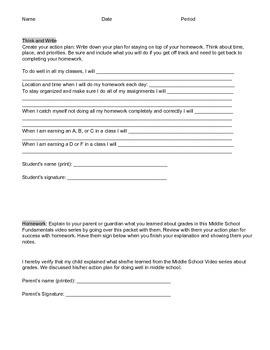 Middle School Fundamentals: grades (video series worksheet)