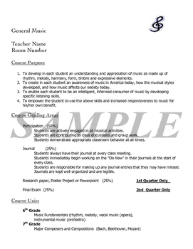 General Music Course Outline (includes student contract)