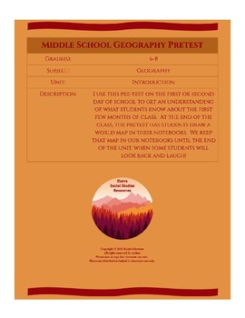 Middle School Geography Pretest
