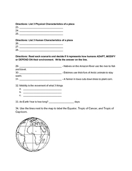 Middle School Geography Test