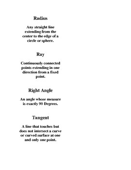 Middle School Geometry Definitions- Angle Related