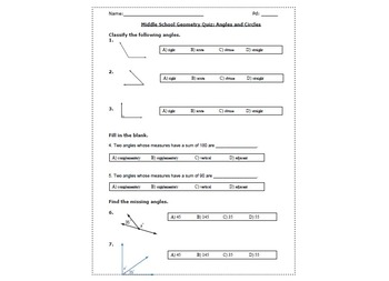 Middle School Geometry Quiz