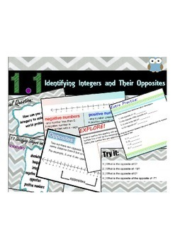 Middle School Go Math Module 1.1 Identifying Integers and Their Opposites