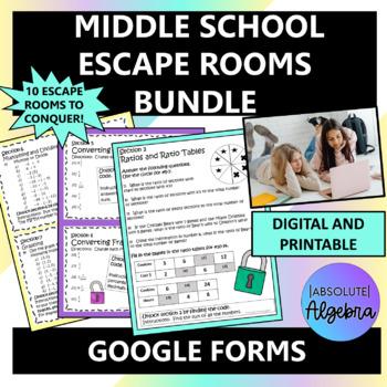 Middle School Math Google Form Escape Room Bundle