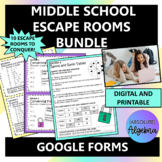 Middle School Math Google Form Escape Room Bundle