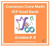 Middle School Grades 6-8 Common Core Math IEP Goal Bank