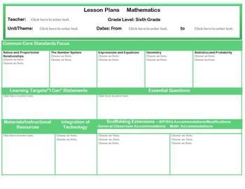 Grades 6-8 Common Core Aligned Mathematics Interactive Lesson Plan Templates