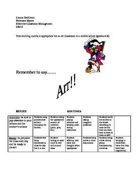 Middle School, Grades 6-8 Teaching Matrix