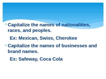 Middle School Grammar Capitalization PowerPoint