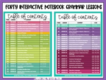 Middle School Grammar Interactive Notebook Lessons {6th, 7th, and 8th CCSS}