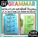 Middle School Grammar Interactive Notebook Lessons for 6th 7th and 8th