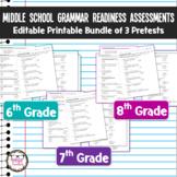 Middle School Grammar Readiness Assessment Language Pretes