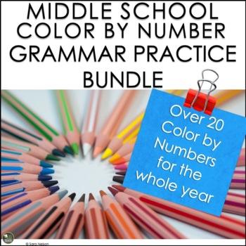 Middle School Grammar Review Color by Number Bundle