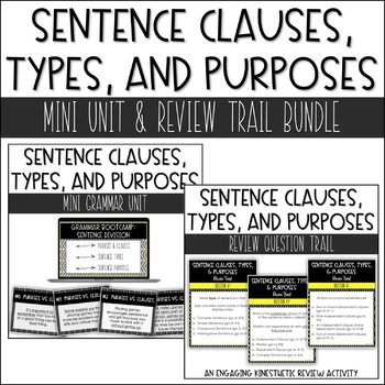 Middle School Grammar | Clauses, Sentence Types, & Sentence Purposes Bundle