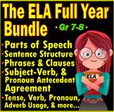 Middle School Grammar Worksheets. A FULL YEAR ELA Bundle. 7th & 8th Grade ELA