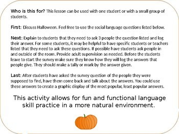 Halloween Social Skills Middle and High School