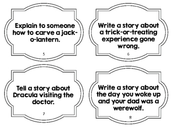 Middle School Halloween Writing Task Cards