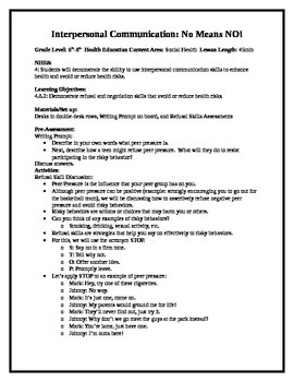 Middle School Health Lesson: Interpersonal Communication--
