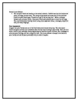 Middle School Health Lesson: Interpersonal Communication--Nutrition Talk