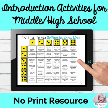 Middle School High School Introduction Activities Teletherapy First Day