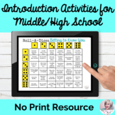 First Day Activities Middle High School No Print Speech   Distance Learning