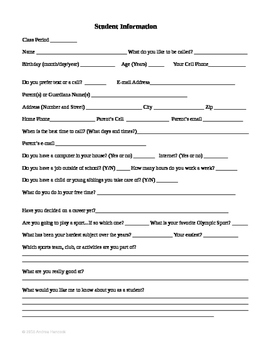 Middle School/ High School Student Information Sheet