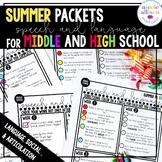 Middle School High School Summer Packets for Speech
