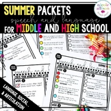 Middle School High School Summer Packets for Speech and Language