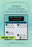 Middle School/High School Syllabus Template [Blue]