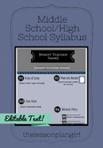 Middle School/High School Syllabus Template [Dark Blue]