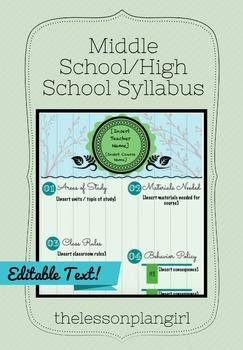 Middle School/High School Syllabus Template [Green]