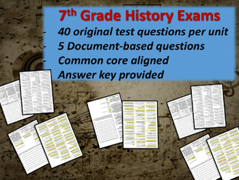 Middle School History Exams - AFRICA - 40 Questions, Common Core Inspired