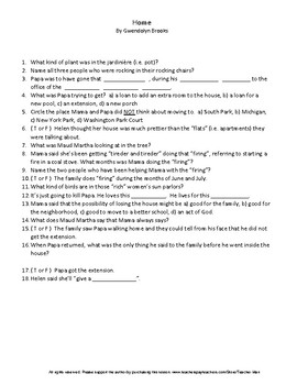 Middle School Home by Gwendolyn Brooks Complete Guided Reading Worksheet
