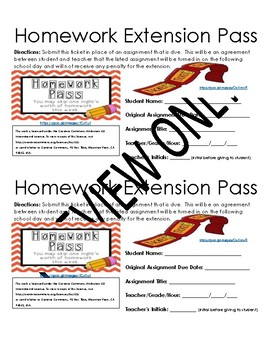 Middle School ELA Homework Extension Pass
