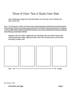 Art - Middle School House of Color Tints & Shades Painting Unit / 6-8 grade
