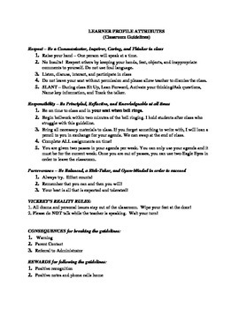 Middle School IB Spanish Class Contract