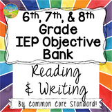 Middle School IEP Goal Objective Bank for Reading and Writing