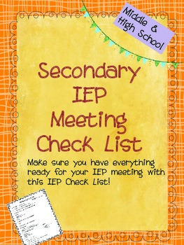 Middle School IEP Meeting Check List