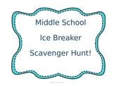 Middle School Ice Breaker Scavenger Hunt