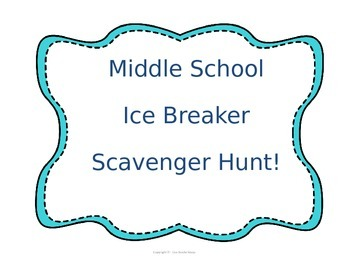 Middle School Ice Breaker Scavenger Hunt