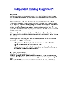 Middle School Independent Reading Projects for Student-Selected Books
