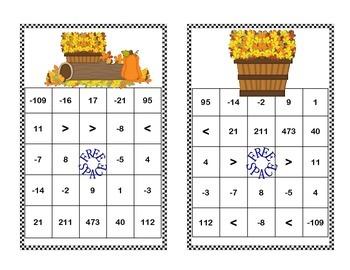 Integer Bingo-Middle School-Fall Theme