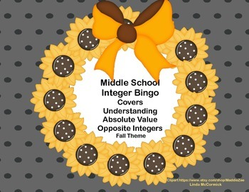 Middle School  Integer Bingo-Fall Theme